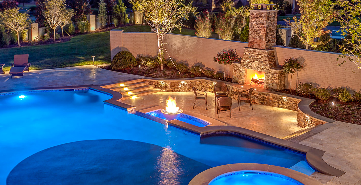 Custom Pool, Fire Pit, Fireplace, Spa