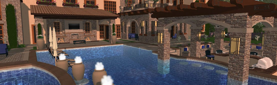 3D Rendering for Custom Pool Design by Peek Pools and Spas