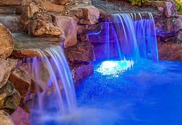 water fall with a custom designed pool