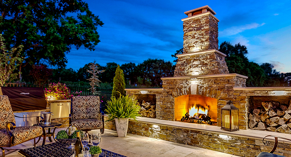 Fireplace in a custom outdoor living space