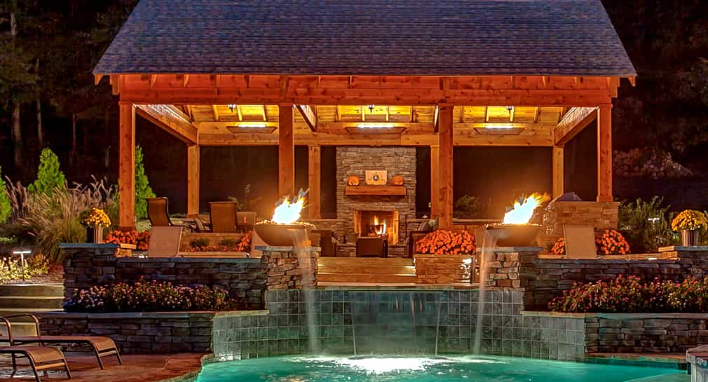 Fire features, outdoor fireplace and entertainment area