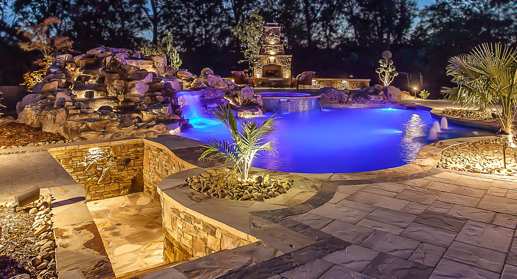 Sunken bar by custom pool