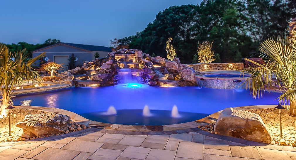 Waterfall in outdoor living area