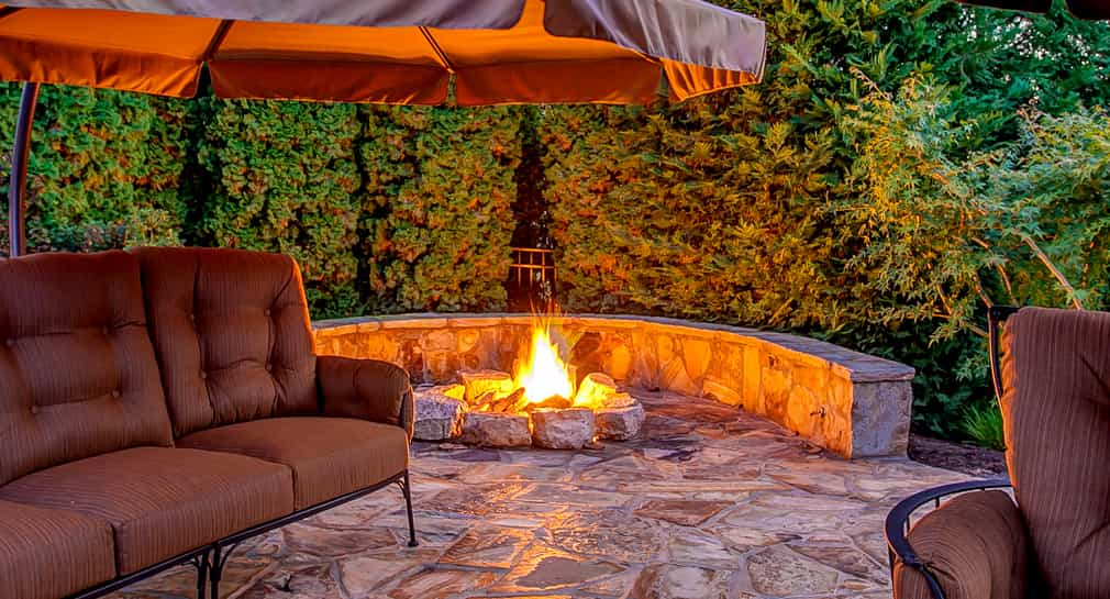 Fire pit at a custom Peek Pool