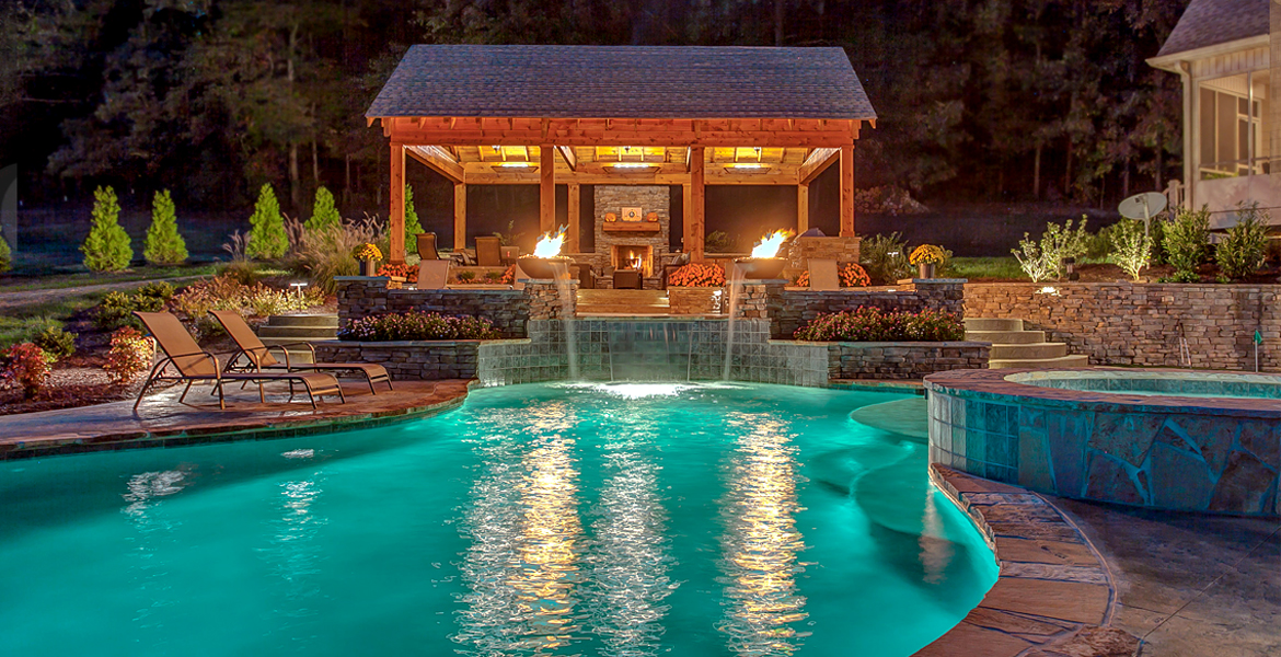 Outdoor Living - Custom Pool, Spa, Fireplace