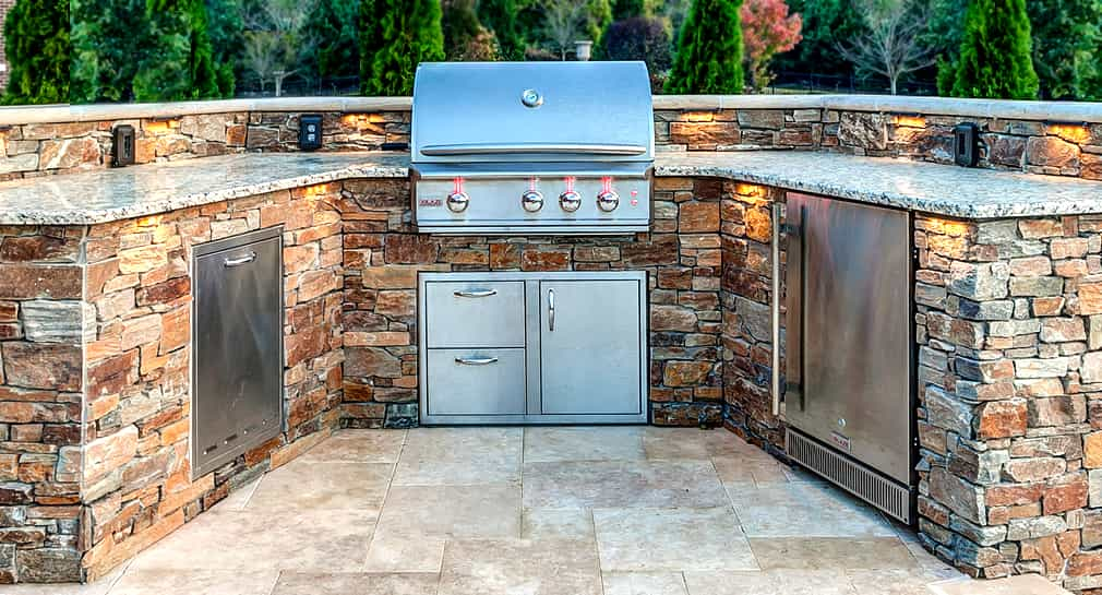 Fully functional poolside stainless steel kitchen